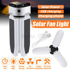 60 LED Solar Power Fan Light Waterproof Lamp Portable Foldable Outdoor Lantern