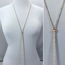 Gold Finish Dainty AB Clear Rhinestones Adjustable Slider Long Necklace