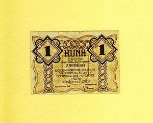 CROATIA 1 KUNA 1942 ZAGREB CITY City money of ZAGREB WWII RARE VF++