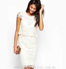 Vestido de Boda LIPSY ❤ Vip Talla 8 Crema Forrado Encaje Crochet Fiesta BNWT RRP £ 120