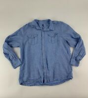EUC Ocean Coast Men's Long Sleeve Light Blue Linen Casual Shirt Size XL