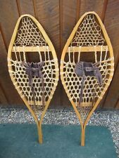 "Great Vintage Snowshoes 41"" Long x 13"" Wide with Leather Bindings Ready To Use"