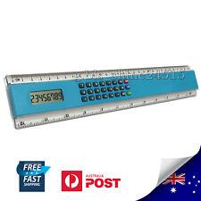 30cm Blue 8 Digits Electronic Calculator Ruler Digital LCD Display Office School