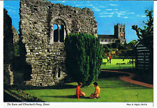 JOHN  HINDE POSTCARD THE RUINS AND CHRISTCHURCH PRIORY DORSET C1983