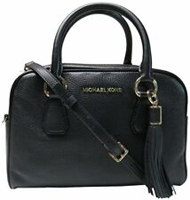 NEW MICHAEL KORS LEATHER BEDFORD BLACK TASSEL SATCHEL CROSSBODY BAG PURSE