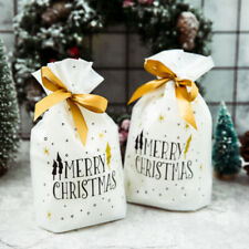 50pcs Snowflake Printing Drawstring Bags Candy Cookies Pouches Party Gift Favor
