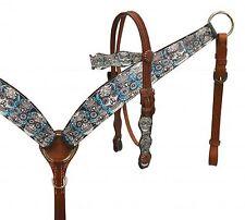Colorful SUGAR SKULL Overlay Western Bridle & Breast Collar Set New Horse Tack