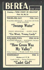 1942 BEREA OH THEATRE SHOWS HOW GREEN WAS MY VALLEY W/W PIGEON & M O'HARA ETC
