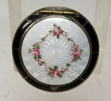 Antique Vintage Sterling Silver Guilloche ENamel Compact Mirror Makeup