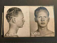 VINTAGE CRIMINAL MUG SHOT YOUNG MAN 1940