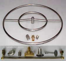"24"" Stainless Steel FIRE PIT DOUBLE RING BURNER KIT LP PROPANE GAS"