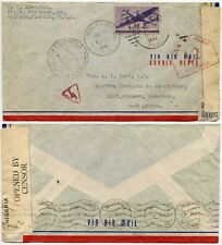 CAMEROON from USA DOUBLE CENSORED + NIGERIA 12 HS + TAPE 1941 AIRMAIL FLORIDA