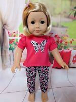 "Butterfly Tee & Animal Print Leggings for American Girl Doll Lea & All 18"" Dolls"