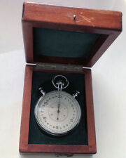 Rare USSR Split Sport Stopwatch SLAVA Chronometer in Wooden Box