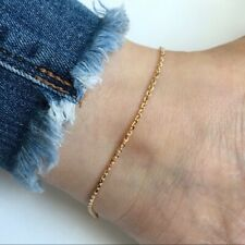 mm W. Anklet - O17- 10.5 inches 14K Solid Gold Thick Cable Simple Chain 1.5
