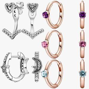 New 925 Sterling Silver Earrings Huggie Hoop Solitaire Earrings Wishbone Heart
