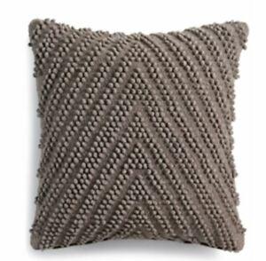 "Lacourte Meli Handwoven Tufted Chevron 20"" Cotton Decorative Pillow - Grey"