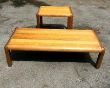 Set of 2 Vintage LANE Solid Wood Sofa Coffee & End Tables - L@@K