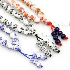 3Pcs Ceramics Porcelain Flower Tibetan Buddhist 108 Prayer Beads Mala Necklace