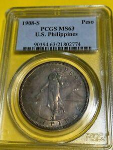 US PHILIPPINES ONE PESO 1908-S PCGS MS 63 NICE TONING