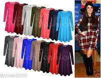 New Womens Ladies Plain Jersey Long Sleeve Swing Stretch Plus Size Top Dress8-24