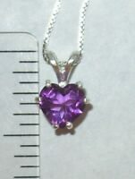 GENUINE AMETHYST HEART 7MM PENDANT NECKLACE STERLING SILVER