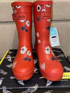 Joules Women's Size 4 Red Botanical Mid Height Molly Wellies - NEW!