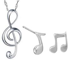 Sterling Silver G Clef Pendant Treble Musical Symbol Necklace Earrings Set K1A