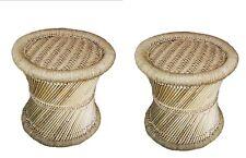 Vintage Look Handmade Bamboo Cane Sitting Mudda Chair Woven Stool Garden Home