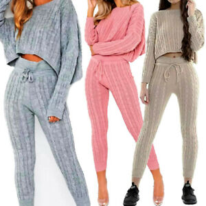 CABLE KNIT KNITTED SUIT SET CO-ORD CROP JUMPER SLOUCH FIT HIGH WAIST LEGGINGS