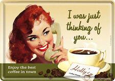 Retro Tin Metal Postcard 'THINKING OF YOU' Coffee Mini Sign 10 x 14cm 1950's