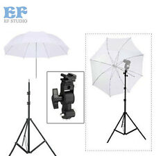 "Pro Studio Light Stand + Flash Speedlite D Bracket Mount + 33""White Umbrella K"