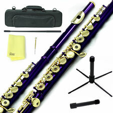 Sky Purple Gold C Open Hole Flute w Case, Stand, Cleaning Rod, Cloth and More
