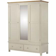 Padstow Cream Painted Triple Wardrobe / Painted Large Wardrobe + Drawer & Mirror
