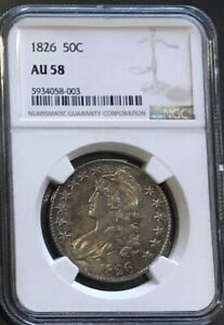 1826 EARLY SILVER HALF-DOLLAR NGC AU 58*** FREE*** s/h