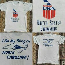 Vintage 70s United States USA SWIMMING North Carolina T Shirt SMALL Thin 50/50