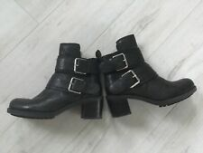 ladies clarks black leather buckle boots 5.5