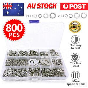 800Pcs M4~M12 Flat& Spring Washers Pad Stainless Steel Assortment Metal Lock Kit