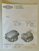Briggs & Stratton 2010 Engine Operators Manual for Models 90000 and 10000