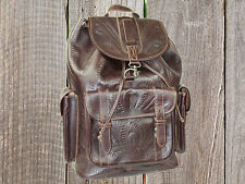 Ropin West X-Large Hand Tooled Brown Leather Backpack