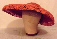 CLASSIC 40s 50s Red Orange Straw Wide Brim Hat w/ Lacey Straw Edge Accents