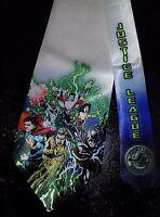 L@@K! Justice League white satin Necktie - Batman, Superman, Wonder Woman,