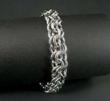 "Vintage BB Double Link Sterling 925 Silver Charm Bracelet 7"" Long"