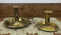 Vintage Brass Candlestick - Push-up Type Set Of Two Applied Finger Loop