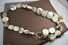 Silpada N1825 Necklace Iridescent Mother of Pearl Sterling Silver Circle