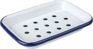 Falcon Enamel White & Navy Rim Traditional Soap Dish With Removable Drain Tray