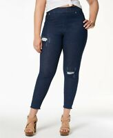 Hue Women's Ripped Knee Original Denim Skimmer Leggings Ink Wash 2X (20W-22W)