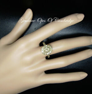 9K 9ct Gold Champagne Diamonds Cluster Ring Size L 3.24g