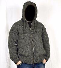 Hand Knit Mens Sweater ALPACA * Zipper Jackets * Pullover HOODIE * SOFT Jumper
