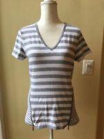 Nwt Michael Kors Women's Striped Short Sleeve Side Zipper Detail Top Size M